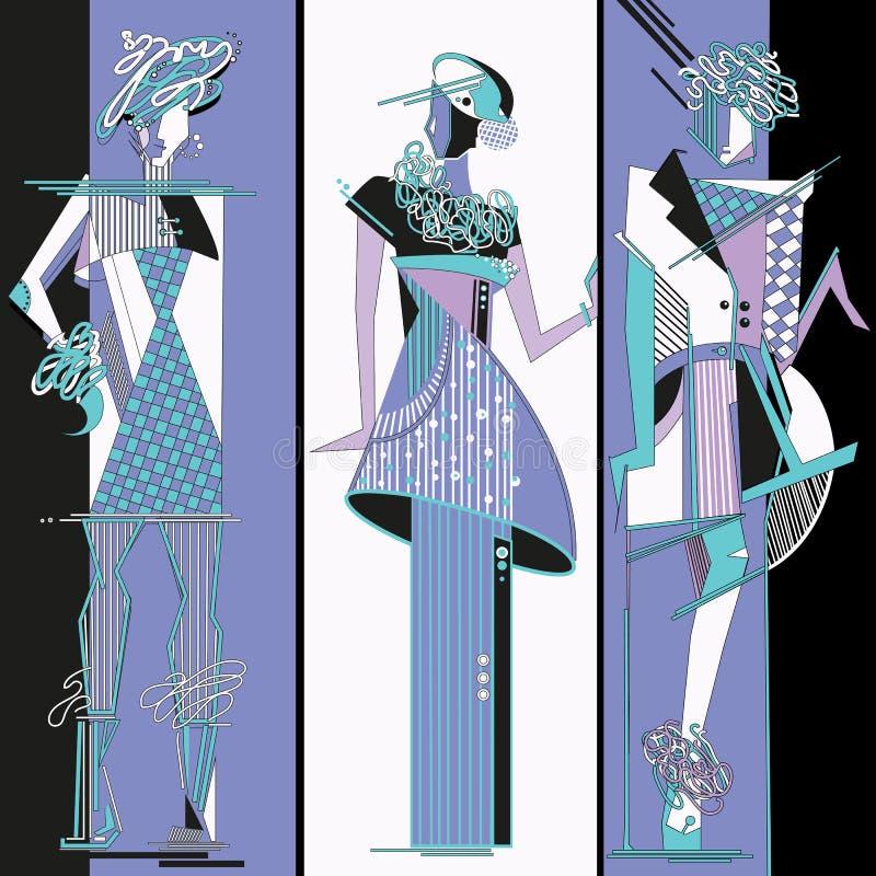 Modedesignen skissar royaltyfri illustrationer