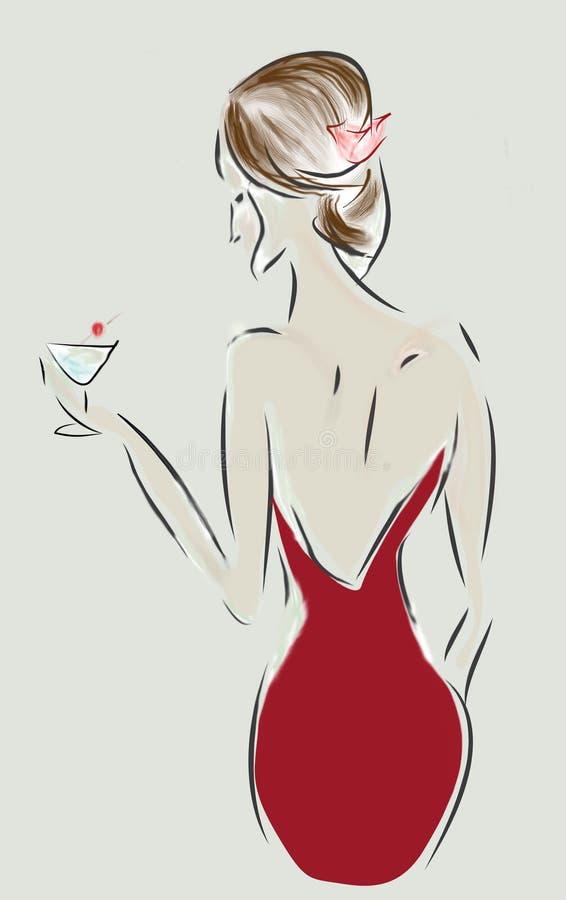 Modedesignen skissar av en kvinna med en klänning och en coctail royaltyfri illustrationer