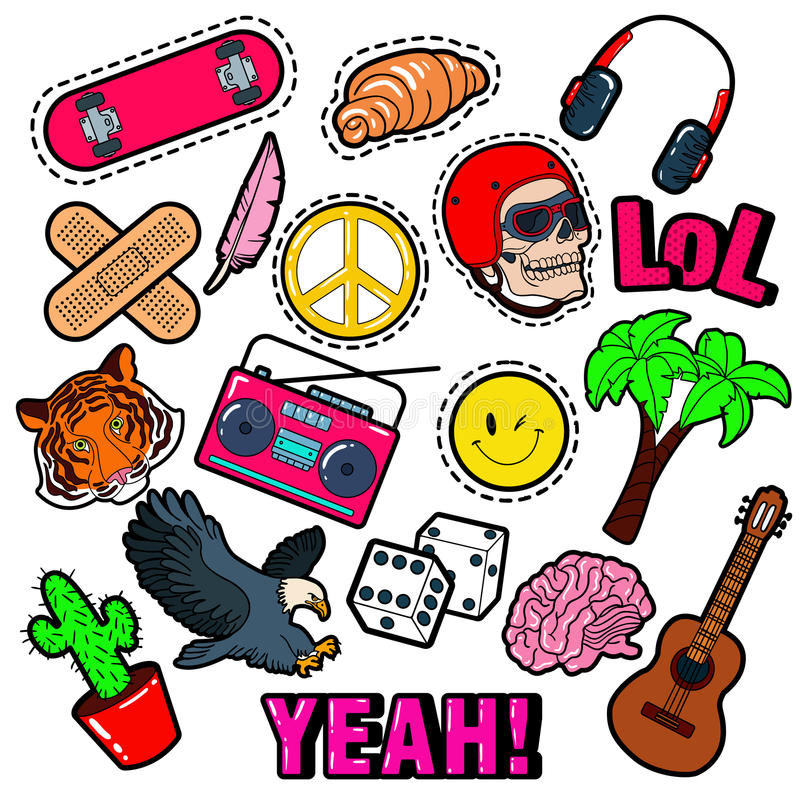 Modeemblem, lappar, klistermärkear ställde in med hippiebeståndsdelar, skateboarden, fredtecknet, gitarr i popet Art Comic Style royaltyfri illustrationer