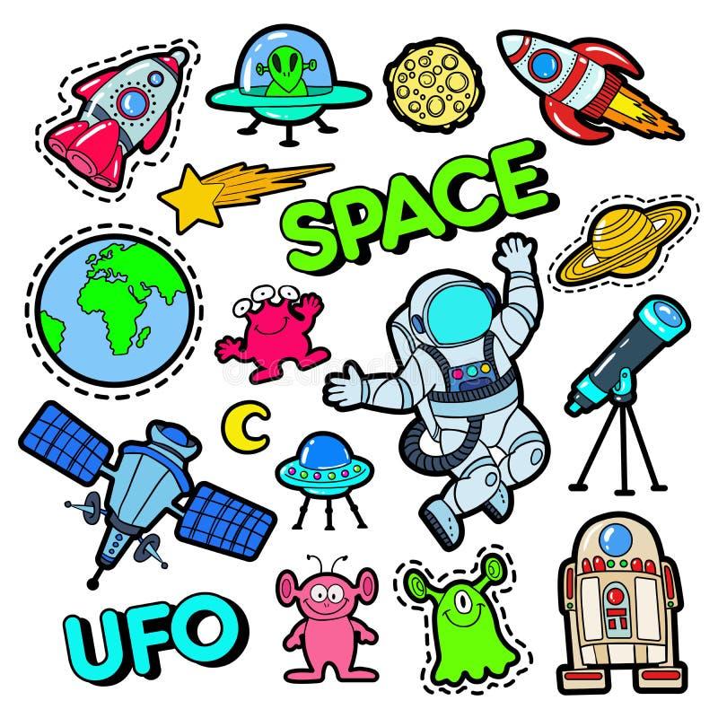 Modeemblem, lappar, klistermärkear ställde in med utrymme, ufo, robotar och roliga främlingar i popet Art Comic Style vektor illustrationer