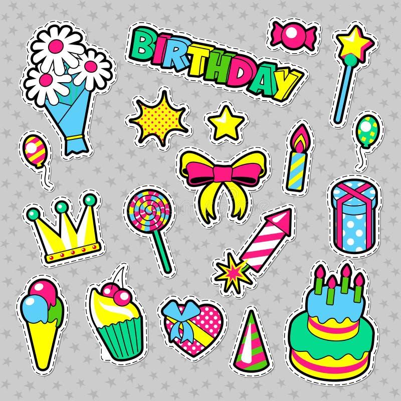 Modeemblem, lappar, klistermärkefödelsedagtema Beståndsdelar för parti för lycklig födelsedag i komisk stil med kakan, ballonger  stock illustrationer