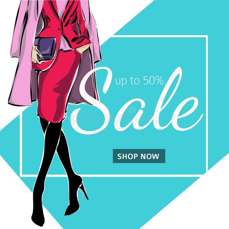 Modeförsäljningsbaner med kvinnamodekonturn, för massmediaannonser för online-shopping social mall för rengöringsduk med den härl vektor illustrationer