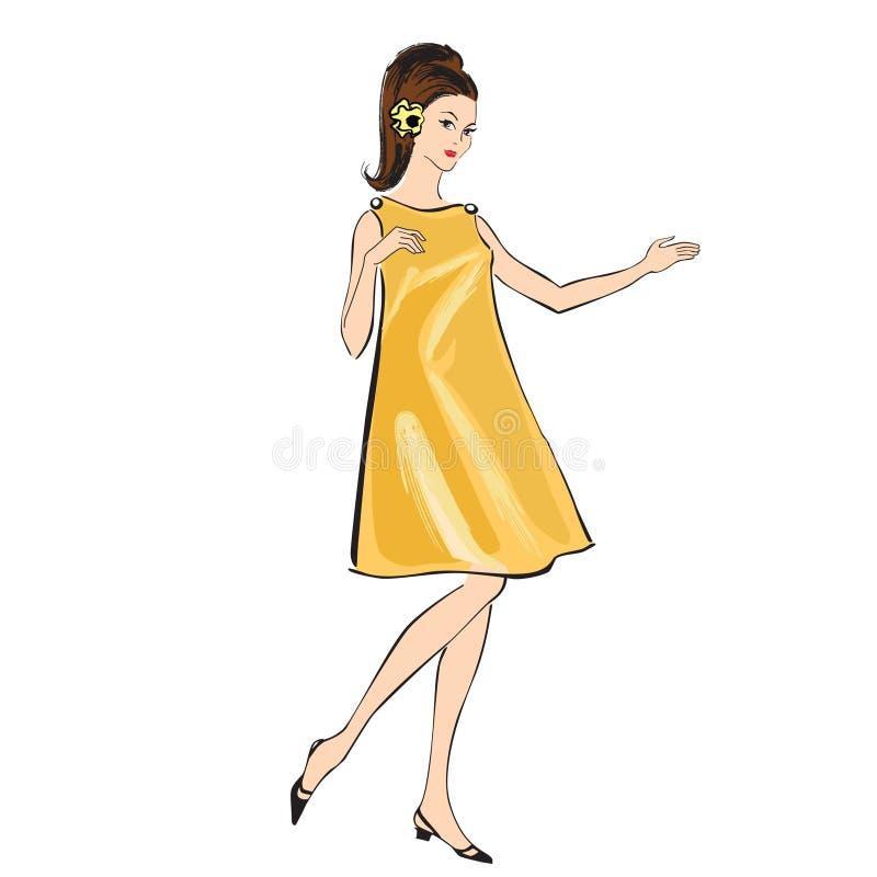 Modeflicka (60-talstil): Retro modedeltagare stock illustrationer