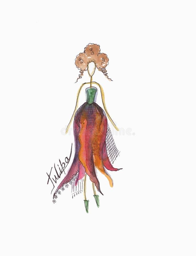 Modeflicka i en tulipeklänning fotografering för bildbyråer