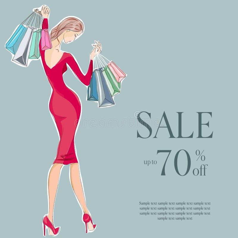 Modeflicka i röd klänningförsäljningsshopping vektor illustrationer