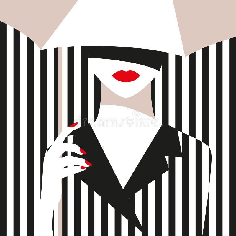 Modeflicka med ett paraply Djärv minsta stil Popkonst OpArt, positivt negativt utrymme och färg Moderiktiga remsor stock illustrationer