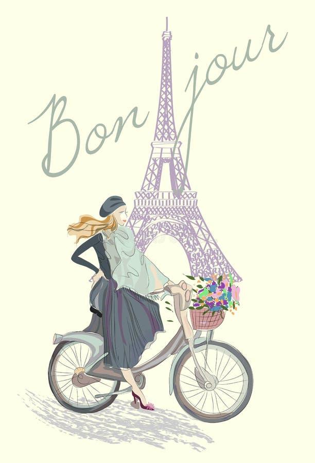 Modeflicka på cykeln royaltyfri illustrationer