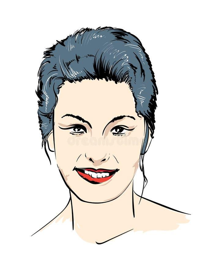 modeflickan f?r den svarta framsidan isolerade makeup perfekt s kvinna f?r reng?ringsduk f?r mall f?r sida f?r h?lsning f?r bakgr vektor illustrationer
