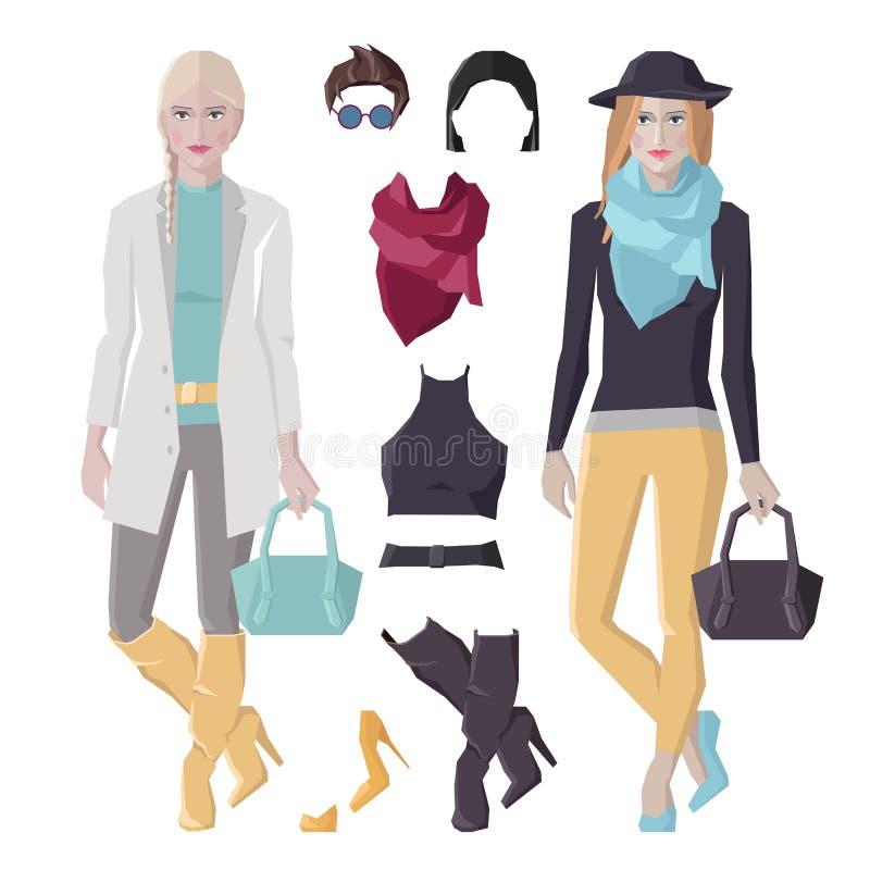 Modeflickauppsättning vektor illustrationer