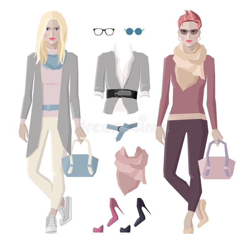 Modeflickauppsättning stock illustrationer