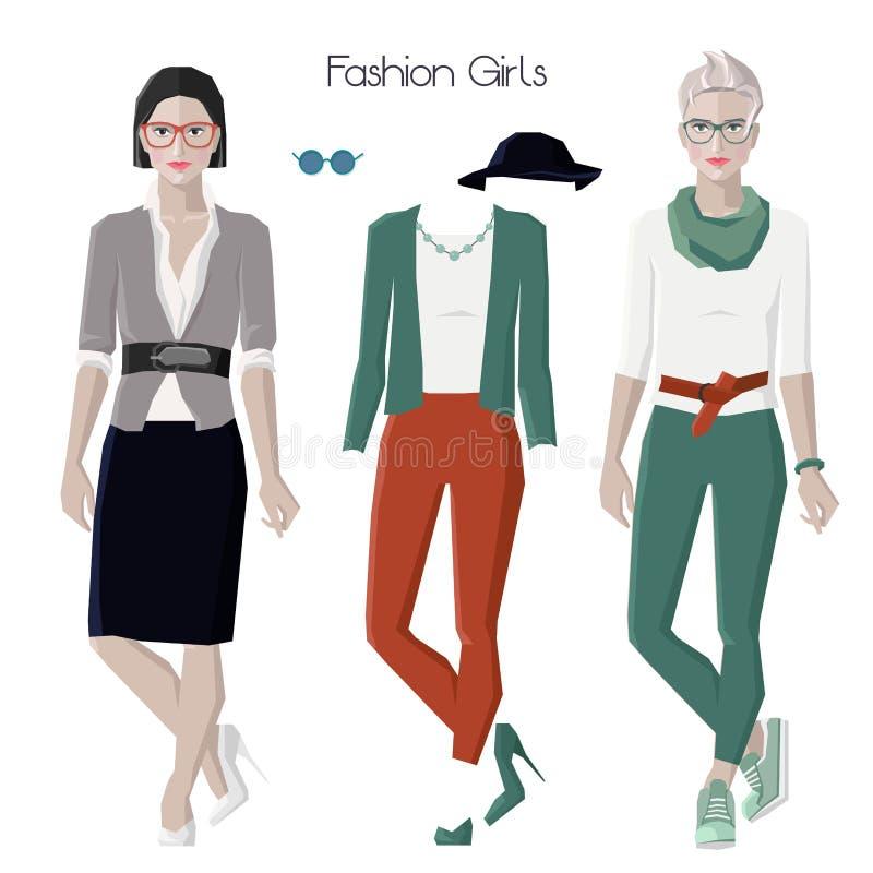Modeflickauppsättning royaltyfri illustrationer