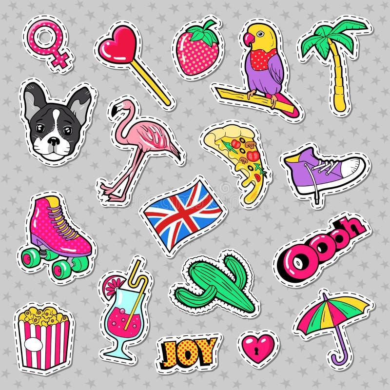 Modeflickor förser med märke, lappar, klistermärkear med flamingofågeln, pizzapapegojan och hjärta royaltyfri illustrationer