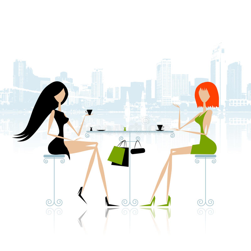 Modeflickor i cafe på gatan vektor illustrationer