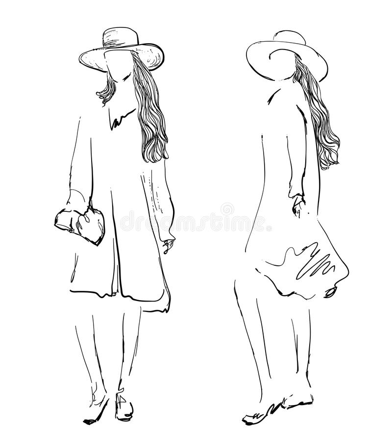 modeflickor skissar tecknad handmodell royaltyfri illustrationer