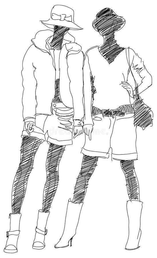 modeflickor två stock illustrationer