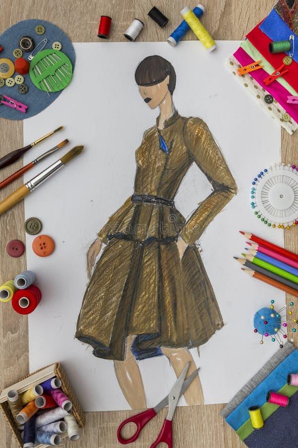 Modeformgivare Desk arkivbild