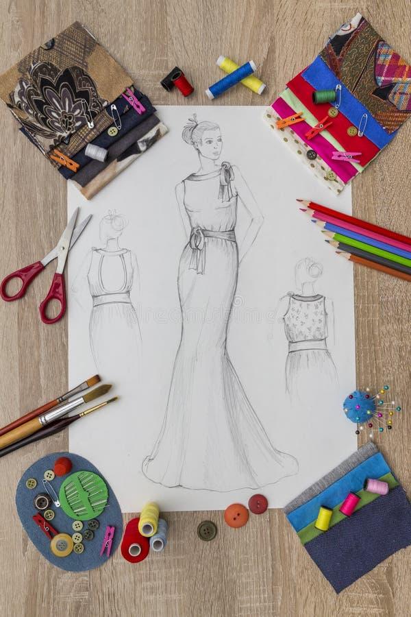 Modeformgivare Desk royaltyfria foton