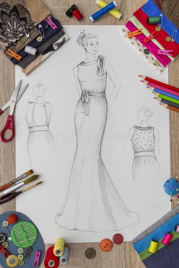 Modeformgivare Desk royaltyfri foto