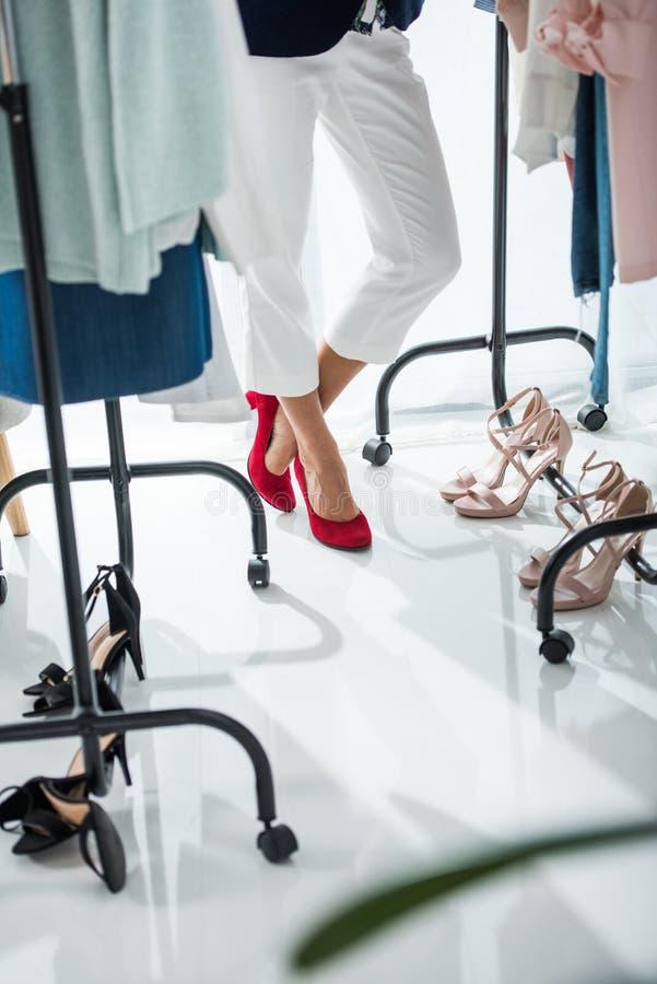 Modeformgivare med kläder fotografering för bildbyråer