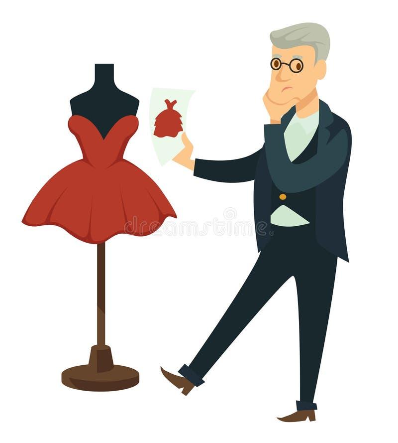 Modeformgivare som jämför klänningen för att formulera skräddaren och attrappen royaltyfri illustrationer