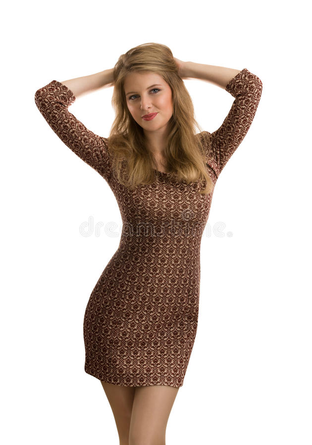 Modefoto der jungen ausgezeichneten Frau lokalisiert stockbild