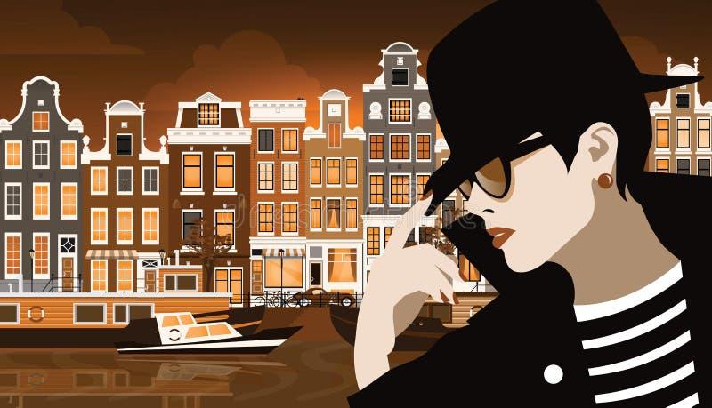 Modefrau in der Artpop-art Das Mädchen auf der Straße von Amsterdam stock abbildung