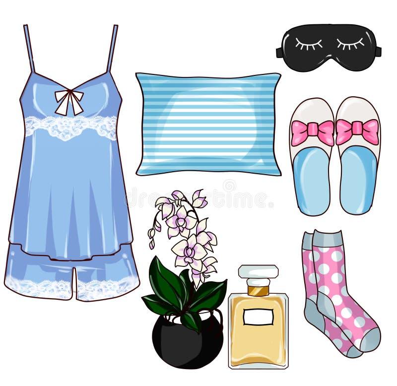 Modegem Art Set - uppsättning för Pajamasamlingsmode vektor illustrationer