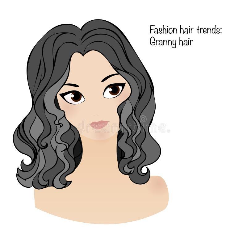 Modehårtrend: farmorhår Vit flicka med stora bruna ögon royaltyfri illustrationer