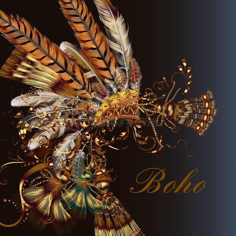 Modehuvudklänning med fjädrar och tassles vektor illustrationer