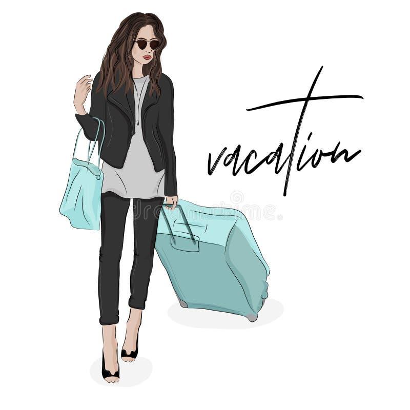 Modeillustration der Frau mit Gepäck Skizzieren Sie weibliches Aushängeschild in der Reise mit Taschen und Sonnenbrille reisender lizenzfreie abbildung