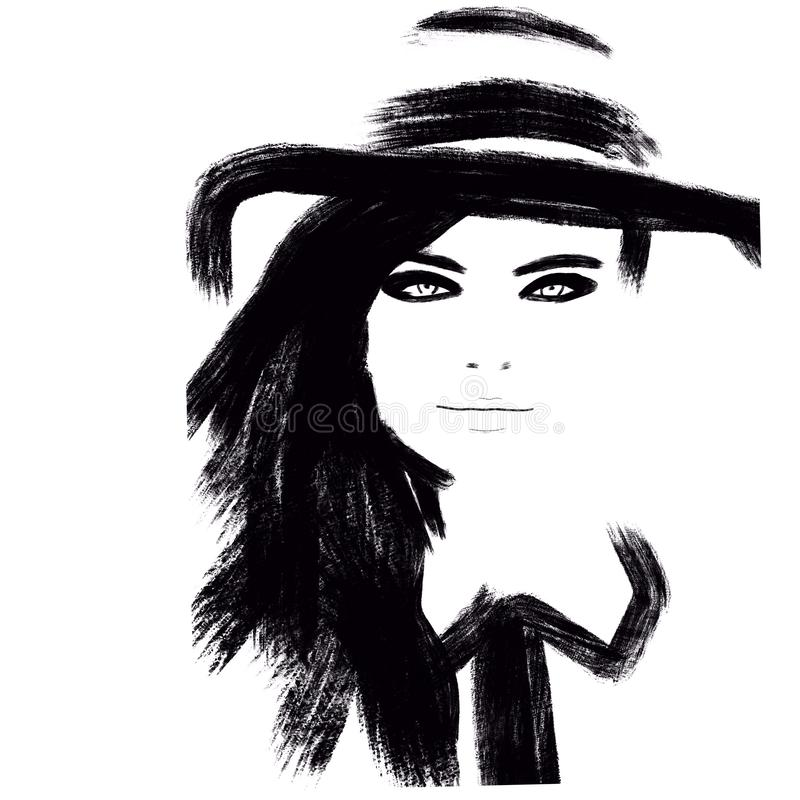 Modeillustration i svartvitt tryck stock illustrationer