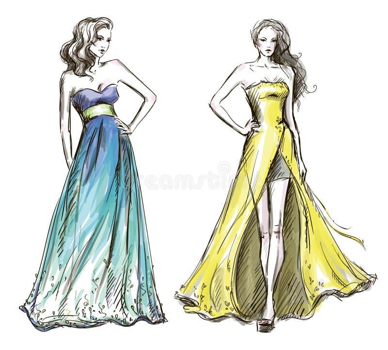 Modeillustration. Lång klänning. Catwalk. stock illustrationer