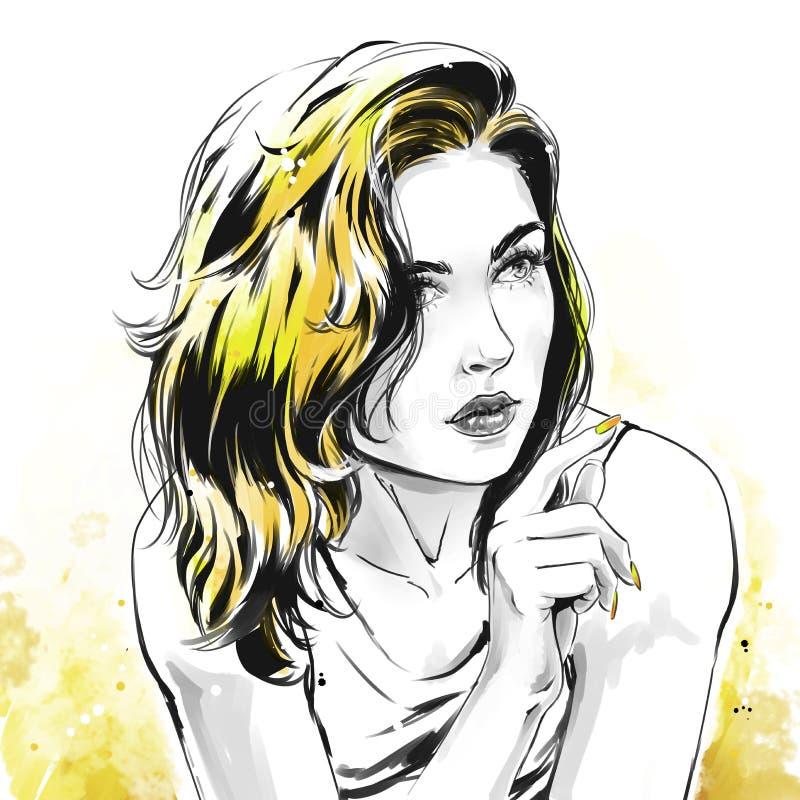 Modeillustration, Porträt der Schönheit stock abbildung