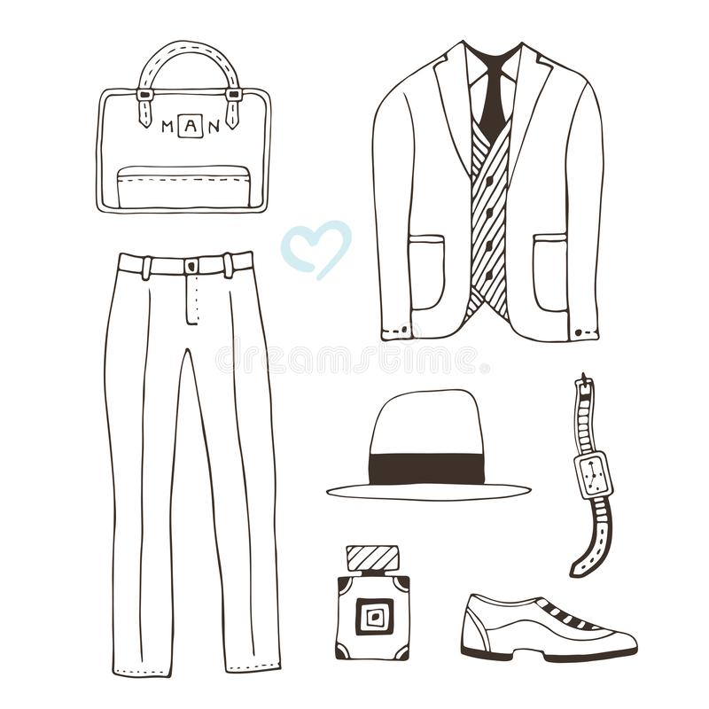 Modeillustrationskleidung Die moderne Kleidung der Männer Sammlung mit Mode-Accessoires Vektorabnutzung für Mannschönheitsentwurf vektor abbildung