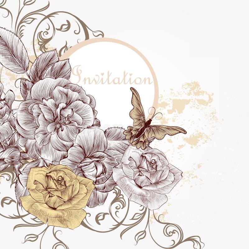 Modeinbjudanbakgrund med hand drog rosor stock illustrationer