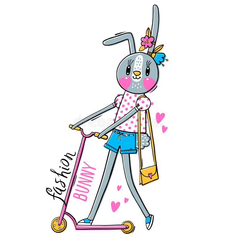 Modekawaiikanin Vektorillustration av en kanin i trendig kläder som rider en sparkcykel Kan anv?ndas f?r t-skjorta vektor illustrationer