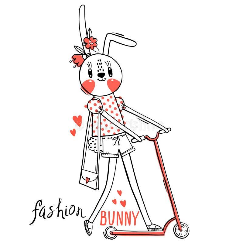 Modekawaiikanin Vektorillustration av en kanin i trendig kl?der som rider en sparkcykel Kan anv?ndas f?r t-skjorta royaltyfri illustrationer