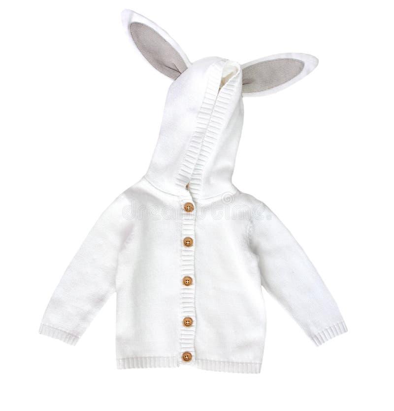 Modekind-` s Strickjacke Kind-` s gestrickte weiße Jacke stockfotografie