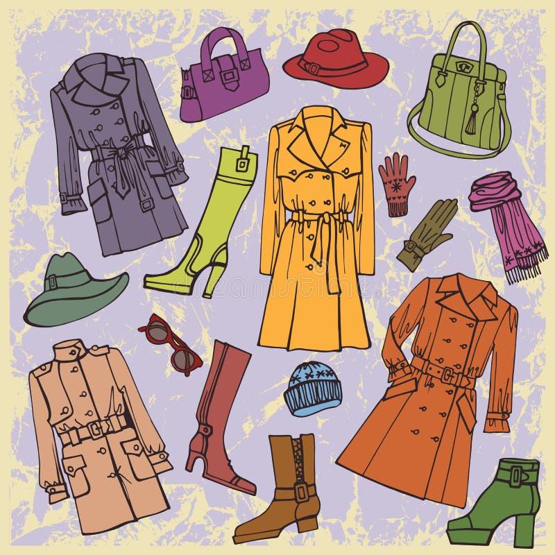 Modekläder Höst vinter, vårkvinnakläder royaltyfri illustrationer