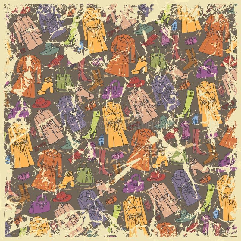 Modekläderbakgrund Färgrik kvinnakläder stock illustrationer