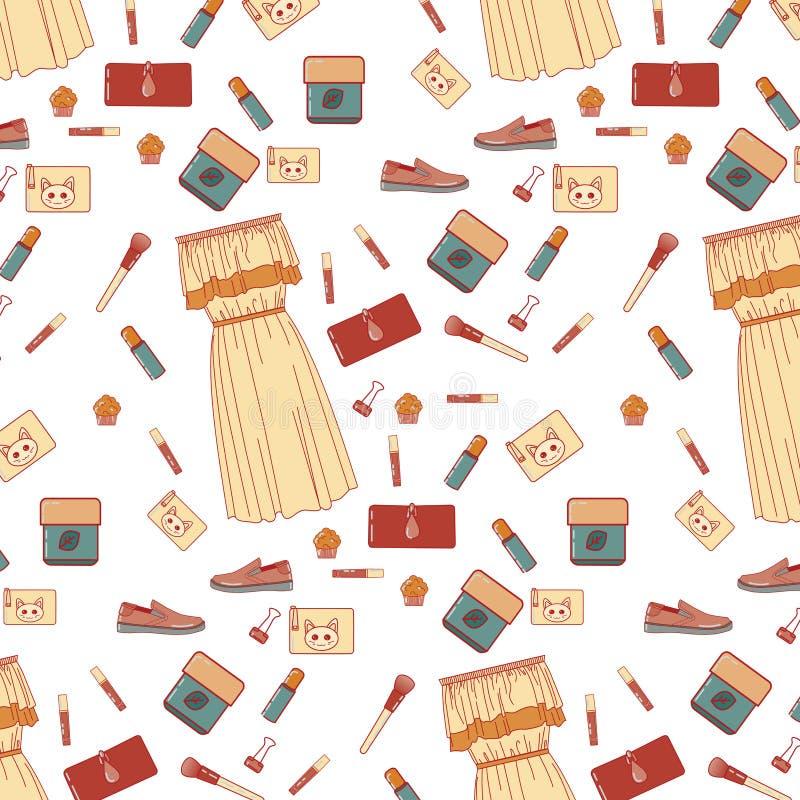 Modekleiderlippenstiftschuhe arbeiten Kleiderlippenstift-Schuhhandtaschen angenehme Kleinigkeiten empfindliche Farbe nettes L um lizenzfreie abbildung
