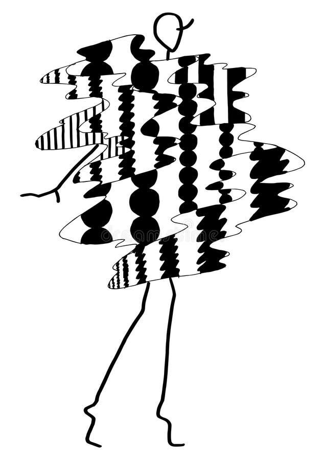 Modekontur av aftonklänningen som poserar i stilen av en abstrakt modell med geometriska beståndsdelar i svartvita diagram vektor illustrationer