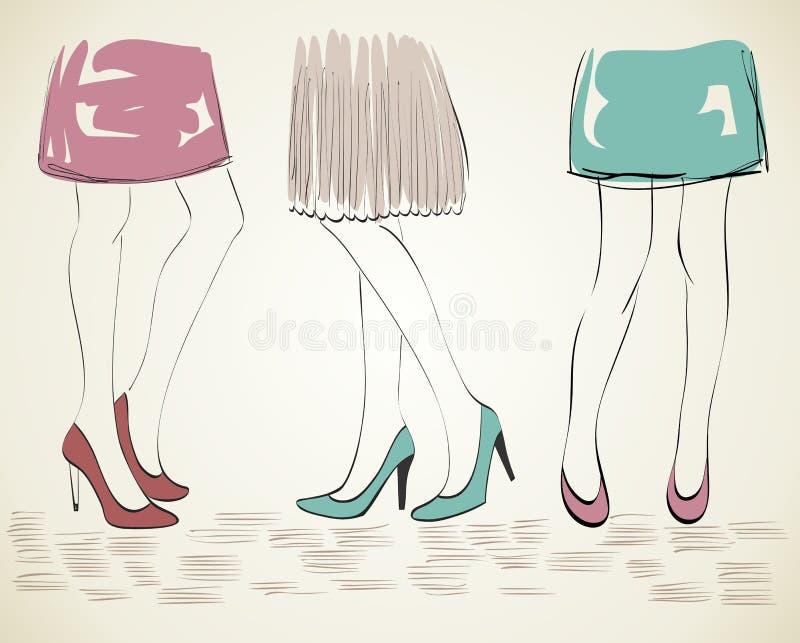 Modekvinna stock illustrationer
