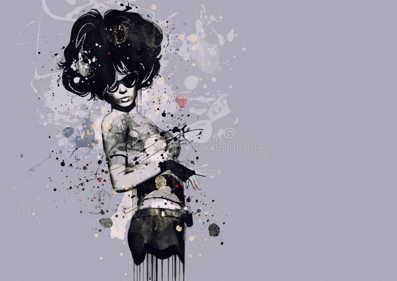 Modekvinna i stil av kabareten Vattenfärgillustration, grungemode stock illustrationer