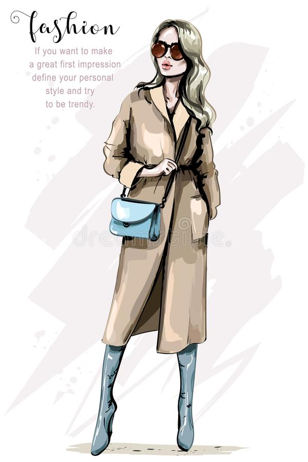 Modekvinna i stilfullt lag härligt kvinnabarn för påse Elegant flicka i modekläder stock illustrationer