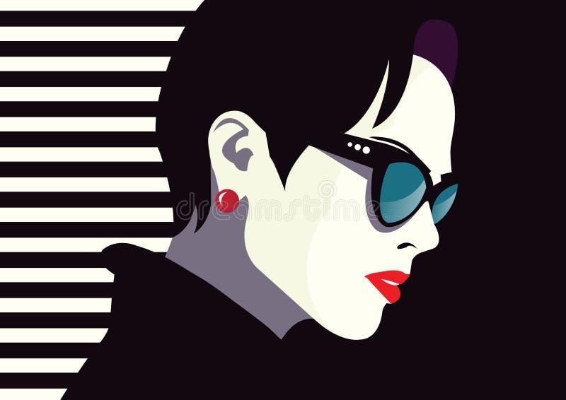 Modekvinna i stilpopkonst royaltyfri illustrationer