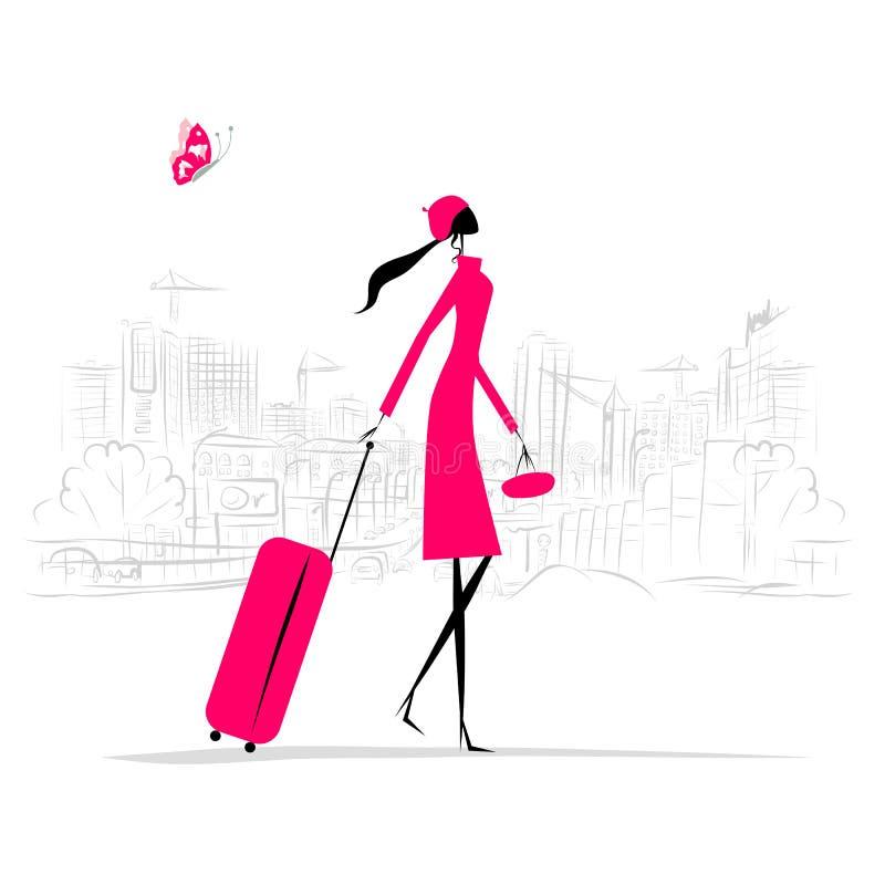 Modekvinna med resväskan, cityscapebakgrund vektor illustrationer