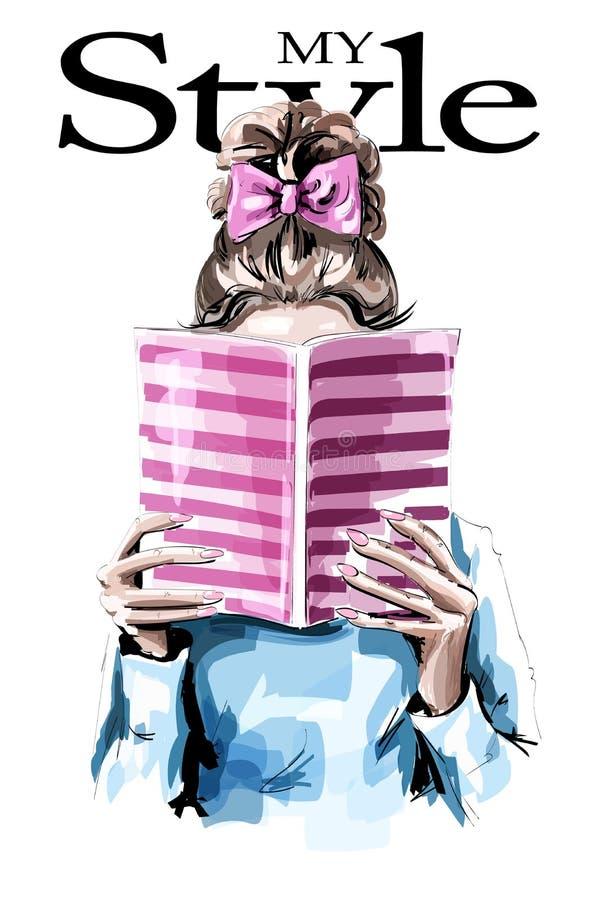 Modekvinnaläsebok Gullig flicka med den härliga frisyren stock illustrationer