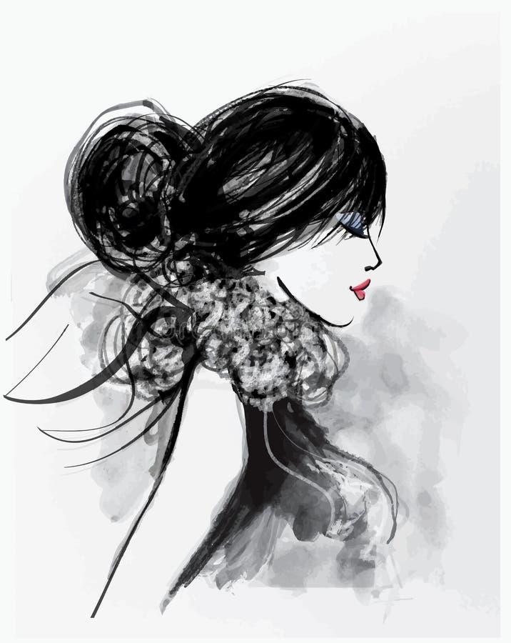 Modekvinnamodell med en halsduk royaltyfri illustrationer