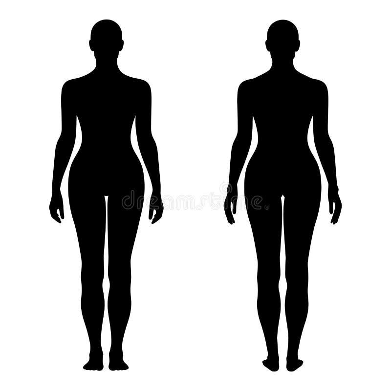Modekvinnas fast diagram kontur (framdelen & tillbaka v för mall vektor illustrationer